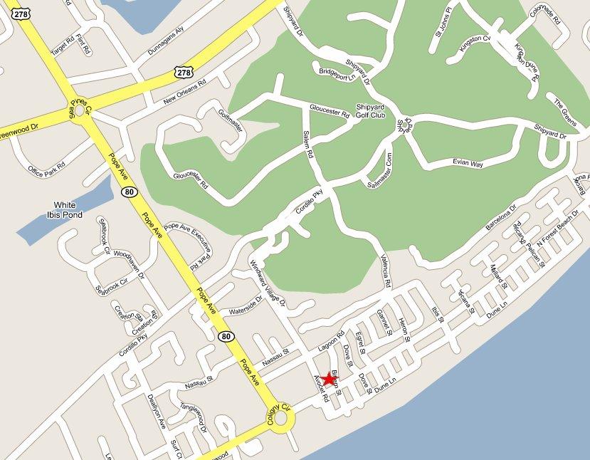 North Forest Beach North Shore Rental Villa Contact Us - North forest beach hilton head map